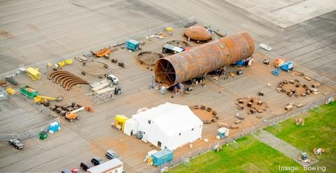 Aerial view of an ASC Field Fabrication site